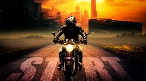 Wallpaper Biker, Motorcycle, Ride, Start, Night, 4k, 8k