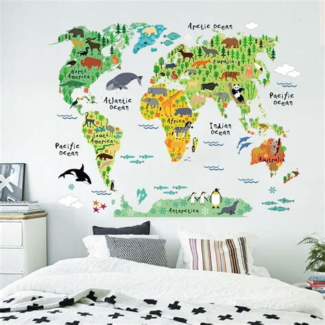 colorful world map kids nursery room wall stickers home
