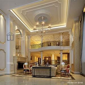最新欧式别墅客厅吊顶装修设计效果图