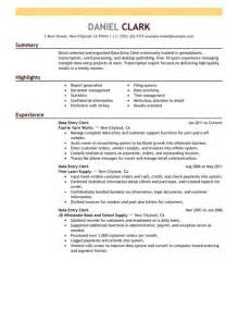 Data Entry Clerk Description Resume by Best Data Entry Clerk Resume Exle Livecareer