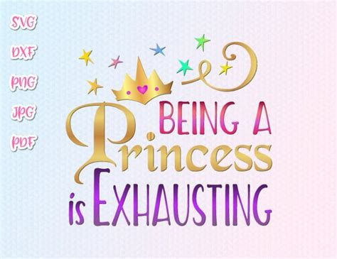 princess  exhausting svg funny quote sign vector