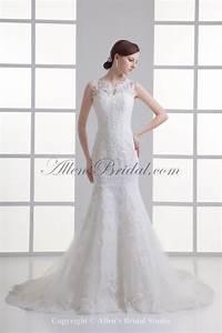 allens bridal lace jewel neckline mermaid chapel train With jewel neckline wedding dress
