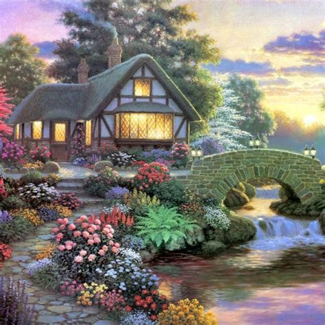 beautiful garden hut landscape diamond painting