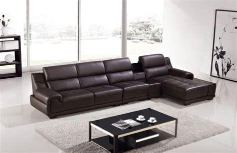 genuine leather sectional with chaise modern brown genuine leather sofa chaise chair