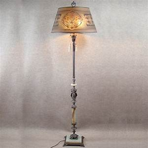 Silver plated marble and alabaster floor lamp with wire for Gold mesh floor lamp