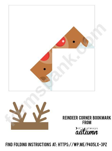 corner bookmark template reindeer origami printable