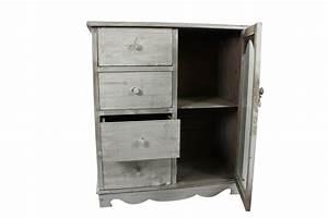 Meuble Bas Bois : meuble bas rangement bois ceruse blanc 4 tiroirs 80x40x90cm ~ Teatrodelosmanantiales.com Idées de Décoration