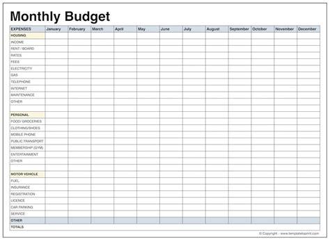 printable budget worksheet  ellipsis