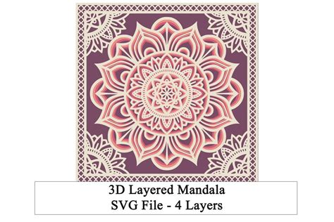 Free instant download of layered mandala alphabet letters with pretty floral elements. 3D Layered Mandala SVG (591651) | Paper Cutting | Design ...