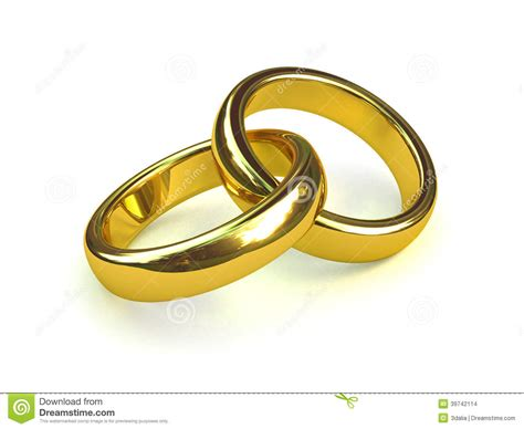 3d two gold rings entwined stock illustration image