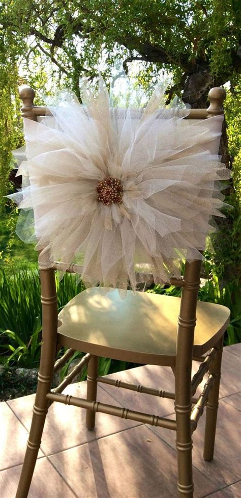 wedding chair d 233 cor with tulle wedding flower and tulle