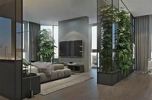 meubles gris et deco verte pour amenager un interieur With salle de bain design avec cloison décorative
