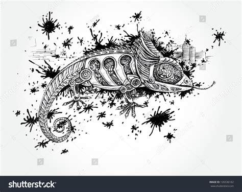 creative drawing mechanic reptile handdrawn illustration