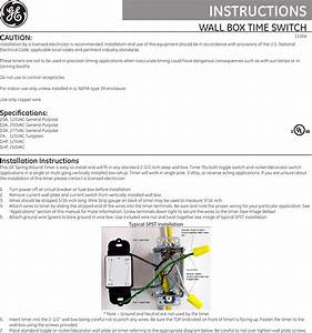 Ge Appliances Spring Wound Timer 15304 Owners Manual