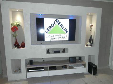 les meubles de la chambre meuble tv en placoplatre communauté leroy merlin