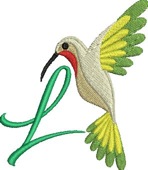 hummingbird alphabet letters    machine embroidery design bird monogram
