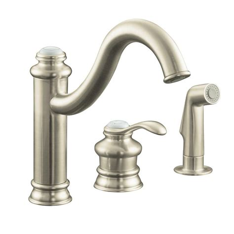 brushed nickel single handle kitchen faucet kohler fairfax single handle standard kitchen faucet with