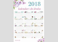 Kalendarz 2018 do druku akwarelowe wzory Polenka