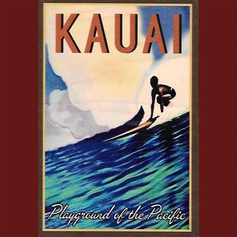 Wooden Kauai Postcard   Playground Of The Pacific, by