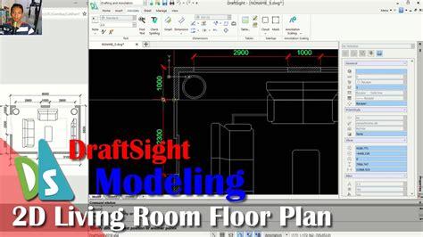 Draftsight  Living Room Floor Plan Tutorial Youtube