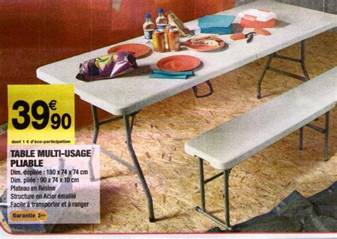 canape 120 cm table et banc pliante carrefour