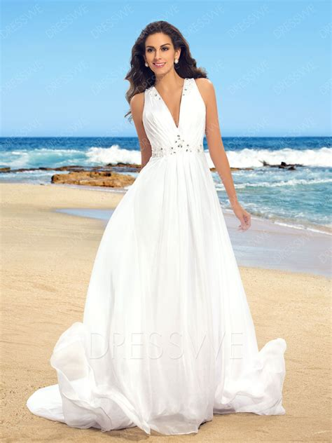 simple v neck beaded sheer back beach wedding dress