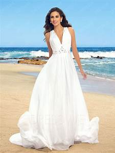 simple v neck beaded sheer back beach wedding dress With dresses for beach weddings