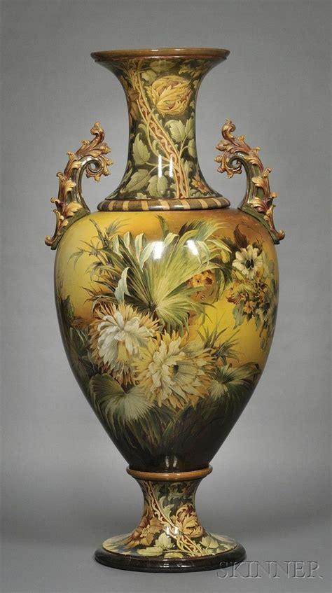 large doulton lambeth faience floor vase england