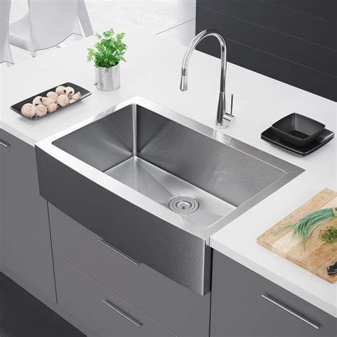 exclusive heritage    single bowl stainless steel kitchen farmhouse apron front sink