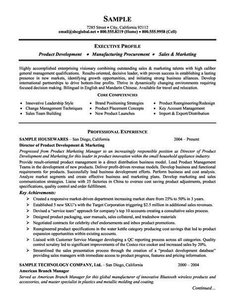 resume template executive product development