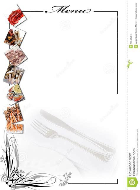 tarjeta del menu  los mariscos en blanco imagenes de