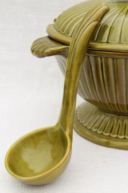 rustic vintage pottery soup tureen olive green glazed