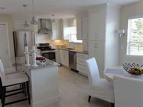 shaker white painted cabinets florida kitchen