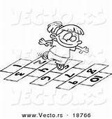 Hopscotch Coloring Scotch Hop Outlined Playing Cartoon sketch template