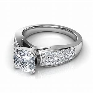 wide band pave round cut diamond engagement ring in 14k With wide band wedding rings