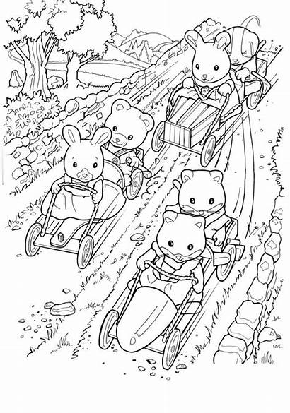 Sylvanian Coloring Families Calico Critters Pages Colouring