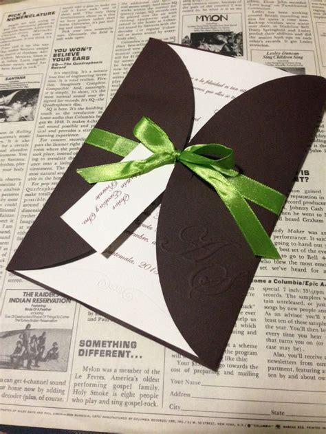 wedding invitation lime green  brown wedding boda