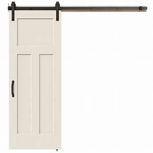 jeld wen 30 in x 84 in 3 panel craftsman primed molded With 30 inch barn door hardware