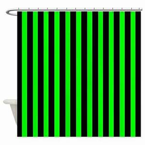 Black and Neon Green Stripes Shower Curtain by CoolPatterns
