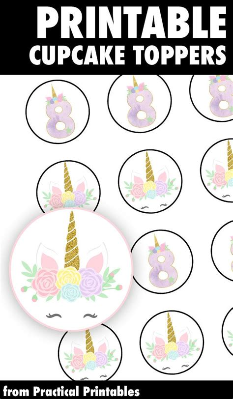 printable unicorn cupcake toppers perfect   age