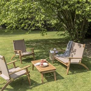 Salon Jardin Bas : salon bas de jardin primavera bois naturelle 4 personnes leroy merlin ~ Teatrodelosmanantiales.com Idées de Décoration