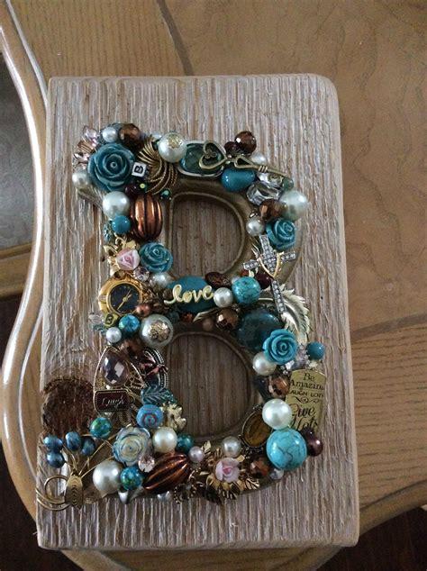 jeweled letter monogram initial  vintage jewelry repurposed  jewelry crafts vintage