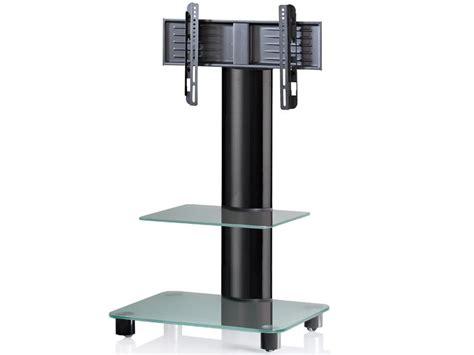 tv standfuß mit rollen vcm tv standfu 223 bilano schwarz mit regal mattglas inkl rollen