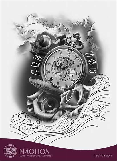 Tattoo Clock Rose Roses Clocks Tattoos Designing