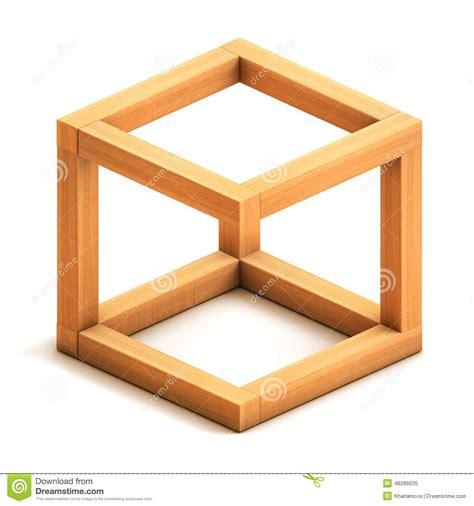 3d wooden shape impossible geometrical figure stock illustration image