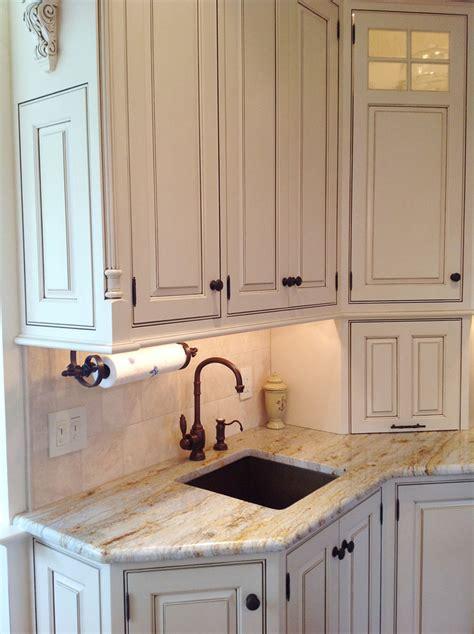 white kitchen  copper bar sink traditional kitchen