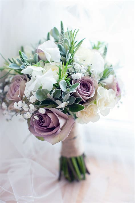 mauve white rose bridal bouquet driftwood flowers