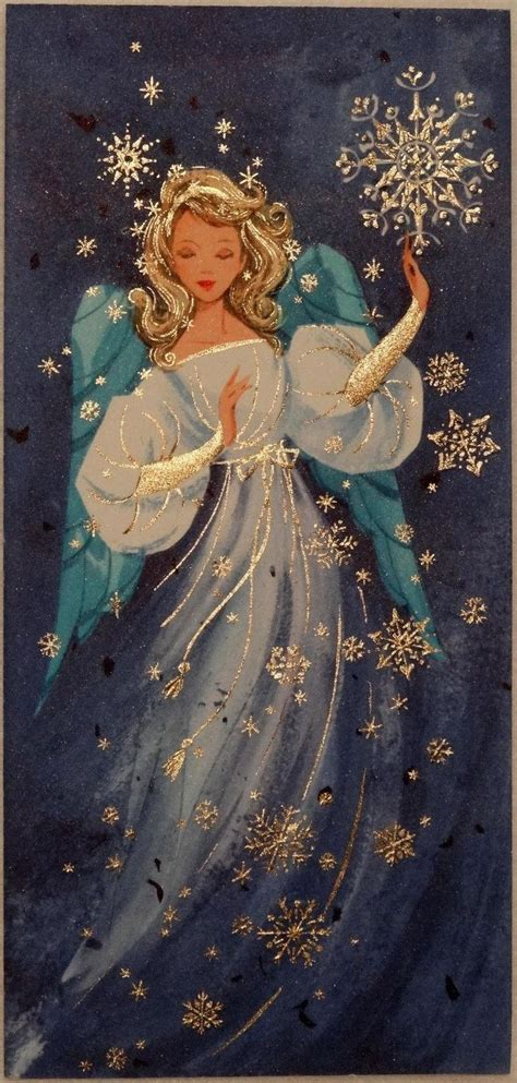christmas angel 1136 50s beautiful angel in the snowflakes vtg