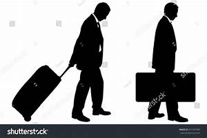 Silhouettes People Luggage Stock Vector 251357590 ...