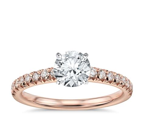 french pav 233 diamond engagement ring in 14k rose gold 1 4